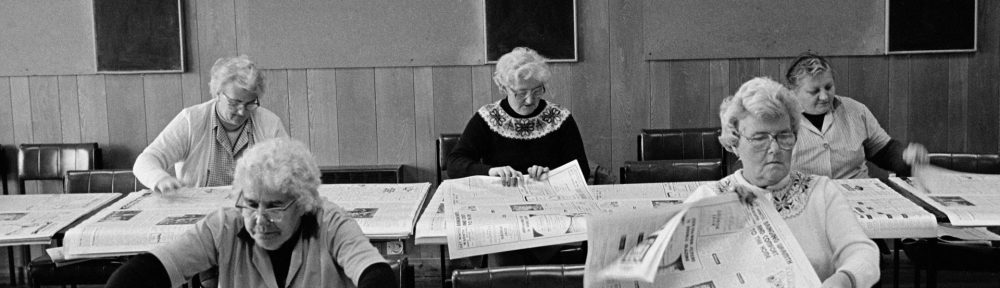 On Thursdays, women hand-fold and assemble The Northern Times in a Golspie Hotel-min